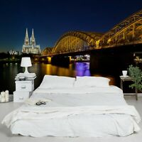 Vlies Tapete Premium Köln bei Nacht Foto Tapete Breit Wand Wand Deko Wandtapete