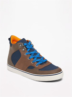 New Old Navy Boys Sueded Hiker High-Tops Shoes Size 1-2-3-5 Rugged Earth Color