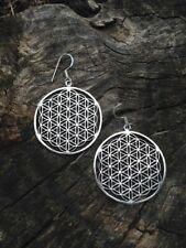 Silver Flower of Life Earrings, Sacred Geometry Seed of Life Spiritual Mandala