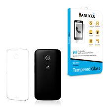 Custodia Cover Trasparente + Vetro Temperato Per Motorola Moto E 2014