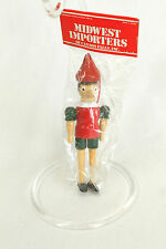 Vintage Red & Green Boy Christmas Ornament Holiday Tree Decoration 5.5x2 Inches