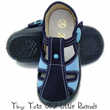 Boys Toddlers Canvas Shoes Sandals Nursery Slippers Leather Insole Size 3 - 9