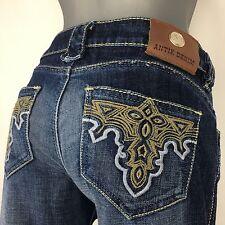 Antik Denim Dark Acid Wash Factory Distressed Bootcut Jeans 28x30