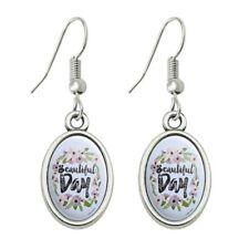 Dangling Drop Oval Charm Earrings Beautiful Day Flowers Wedding Bridal Shower