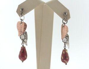 Artisan Sterling Silver 925 & Copper Hearts Pink & Gold Bead Dangle Earrings