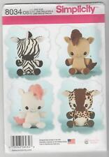 Simplicity Sewing Pattern 8034 Stuffed Animals - Unicorn Horse Zebra Giraffe