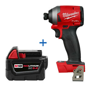 """New Milwaukee 2853-20 M18 1/4"""" Impact Driver with 48-11-1850 5Ah Battery"""