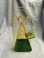 Stained Glass Angel Tea Light Candle Holder With Metal Gold Trim And Guitar