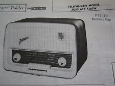 TELEFUNKEN JUBILATE 5161W SHORTWAVE RADIO RECEIVER PHOTOFACT