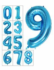 "BLUE - 40"" foil Helium Birthday party number balloon 0 1 2 3 4 5 6 7 8 9"