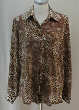 Jordan, Large, Brown Multi Leopard/Floral Print Button Front Top