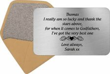 Personalised Godfather Christening wallet card metal Insert keepsake gift idea