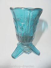 26463  kleine Glasvase Vase Art Deco Preßglas blaugrün bluegreen Faunskopf Faun