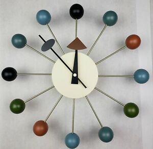 Mid Century Modern George Nelson  'Atomic' Wall Ball Clock Repro New Open Box