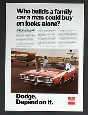 1972 Dodge Charger Advertisement Family Muscle Car Airplane Print AD
