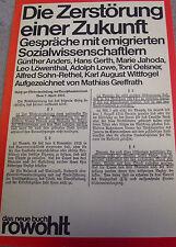GREFFRATH Die Zerstörung einer Zukunft GESPRÄCH mit Alfred Sohn-Rethel ua. 1979