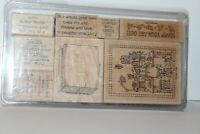 Lot of 8 New Craft Rubber Stamps w/ Love of Stamping Theme &  Storage Box