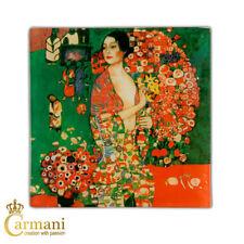 Square Glass Plate with Gustav Klimt 'Dancer' painting 13x13cm