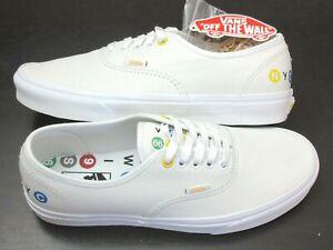 Vans Men's Authentic NYC Leather True White Subway Stop Logo shoes Size 9.5 NIB