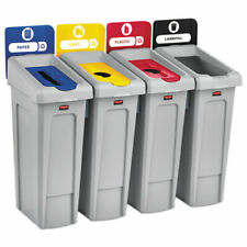Slim Jim Recycling Station Kit, 92 gal, 4-Stream Landfill/Paper/Plastic/Cans