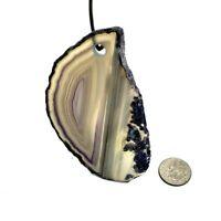 Pendent Agate Slice Polished Crystal Quartz