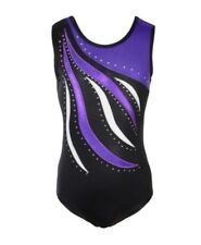 Diamanté Gymnastics Leotards.Gym Dance Costume.Rhinestone Body Suit.5-6 Years.Uk
