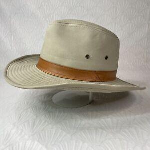 Dorfman Pacific Men's Size XL Wide Brim Fedora Safari Outback Hat Tan Brown Band