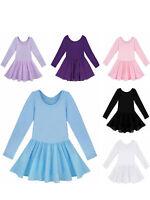 Kids Girls Ballet Gymnastics Dance Dress Long Sleeve Leotard with Chiffon Skirt