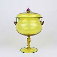 Canary Yellow Venetian Murano Glass Covered Compote w Flower Finial & Handles GL