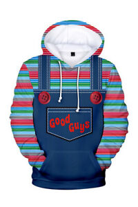 Play Chucky Hoodie Jackets Costume Halloween Cosplay Pullover Shirt Sweatshirt