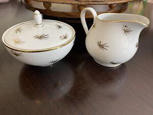 Bavaria Germany Gold Plated & White Floral Mod Style Cream & Sugar Porcelain EUC
