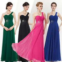 Hot Pink One Shoulder Womens Long Evening Bridesmaid Cocktail Party Dress 08077