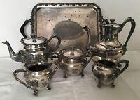 Antique Art Nouveau Barbour Silver Co. Quadruple Silver Plate Coffee Tea 6pc Set