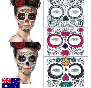 Day Of The Dead Temporary Face Tattoo Sheet Halloween Costume Make Up