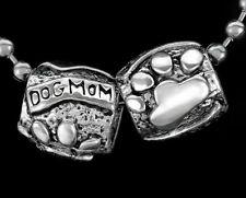 2PCs Dog Mom Dogmom Paw Print European Beads Silver f/ European Charm Bracelets