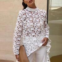 Fashion Women's Lace Hollow Out Shirt Long Sleeve Irregular T-Shirt Tops Blouse