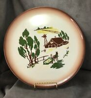 "Brock of California Harvest Farmhouse with Brown Ombré Trim 11"" Dinner Plate~"