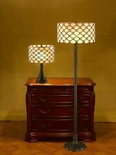 Tiffany Style Contemporary Jeweled White Lamp Set Handcrafted New