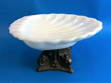 Vintage Bathroom Vanity Soap Dish Decorative Milk Glass White Metal Seashell