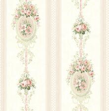 Tapete Designtapete Floral Streifen Medaillons Grun Puder