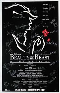 BEAUTY & THE BEAST Broadway OBC Susan Egan, Gary Beach, Tom Bosley Signed Poster
