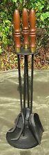 Vintage Mid Century Modern Iron Wood Brass Fireplace ToolSet 3pc Stand