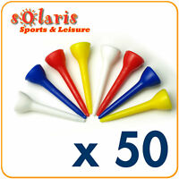 50 x Plastic Golf Tees 42 mm (1 5/8 in) Multi Colors
