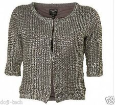 Kate Moss Iconic Silver Sequin Knit Evening Cardigan Vtg Dress Jacket 8 6 36 US4
