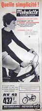 PUBLICITÉ 1964 MOTOBÉCANE MOBYLETTE AV 42 SÉCURITÉ FREINAGE TENUE DE ROUTE