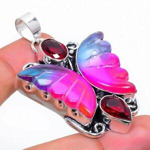 "Bi-Color Tourmaline, Garnet 925 Sterling Silver Jewelry Pendant 2.17"" S153"