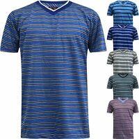 Mens Striped Shirt Summer Beach Top V Neck Short Sleeve Stripe T-Shirt Tee New
