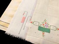 Vintage Retro Linen Cotton Hand Kitchen Dish Towels; Lot of 3 (RF1071)