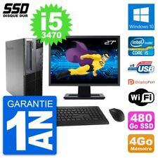 """PC LENOVO M82 SFF Screen 27 """" Intel Core i5-3470 RAM 4Go SSD 480Go Windows 10"""