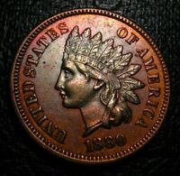 OLD US COINS 1880 INDIAN HEAD CENT PENNY UNC FULL LIBERTY TONED  BEAUTY